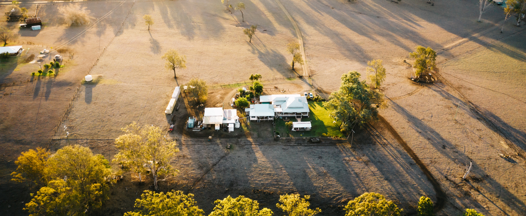 Drone image of house on farm land